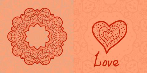 Love card. Valentine flayer template. Wedding invitation. Mandal