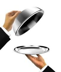 Fototapeta Waiter Holding Platter with Open Cover obraz