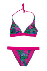Swimsuit with floral pattern.