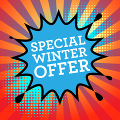 Comic book explosion with text Special Winter Offer