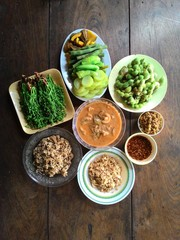 Above rural Thailand food pastes and vegetables are the main