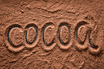 """The Word """"Cocoa"""" Written on the Cocoa Powder"""