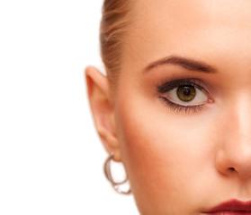 Beauty makeup. Part of face closeup. Perfect skin.