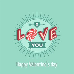 Love, I love you, Valentines day card - Vector illustration.