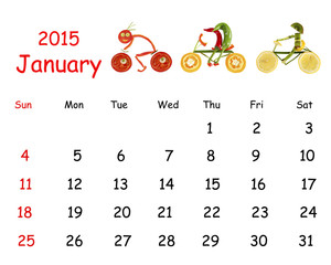 2015 Calendar. January. Little funny people from vegetables and