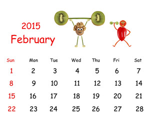 2015 Calendar. February. Little funny people from vegetables and