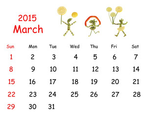 2015 Calendar. March. Little funny people from vegetables and fr