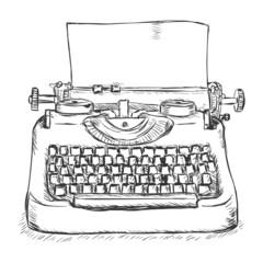 Vector Sketch Retro Typewriter