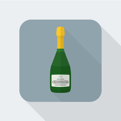 vector colored flat design green champagne bottle icon