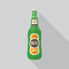 vector colored flat design green beer bottle with plug