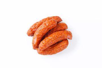 Kielbasa sausages on white background