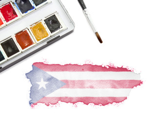 Watercolor painting of Puerto Rico in the national colors.(serie