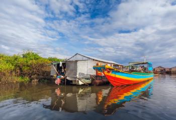 SIEM REAP, CAMBODIA The village on the water. Tonle sap lake