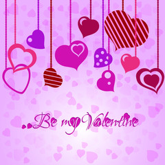 Festive background with heart garland on Valentine's day. Feb 14