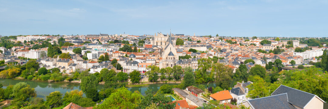 Panorama of Poitiers in summer