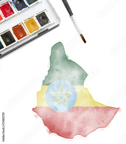 Watercolor painting of Ethiopia in the national colors