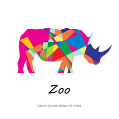 Colorful abstract silhouette of rhinoceros