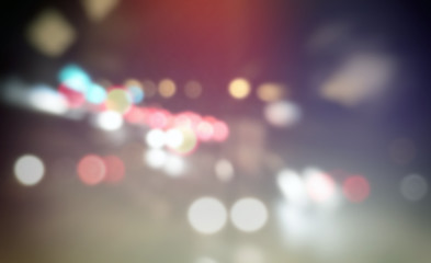 Street blurred lights of cars, urban abstract bokeh