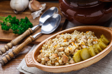 Barley porridge with pork