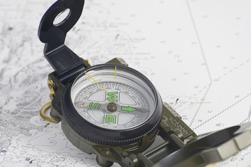 compass on chart boating