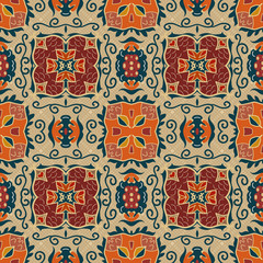 Seamless background from a floral ornament red tribal style on a