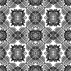 Seamless background from a floral ornament black and white triba