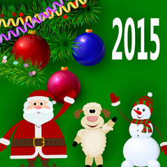 Christmas banner with the symbol of 2015 - lamb, Santa and snowm