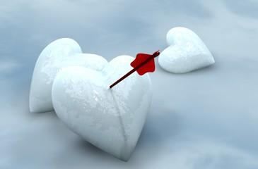 Ice hearts pierced by arrow