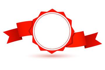 Design element--emblem with a red ribbon. Vector illustration