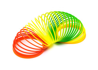 Colorful toy springs isolated on white