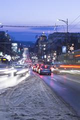 Night traffic in Belgrade