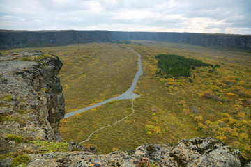 View from Eyjan rock in Asbyrgi