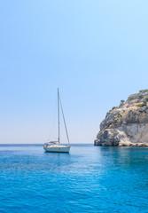 Yacht in the blue sea. Rhodes Island. Greece