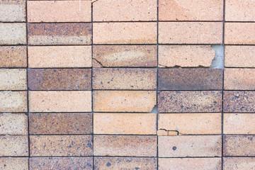 Black background brick wall show damage.