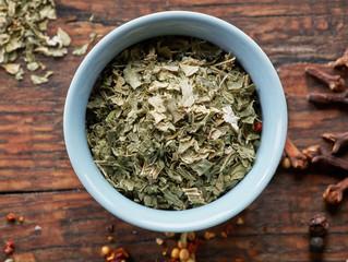 bowl of dried oregano