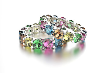 Golden Ring with different color Diamond. Jewelry background
