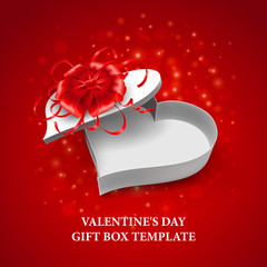 Valentine's Day heart shape box. Vector illustration