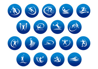 Athletics and team sport icons or symbols