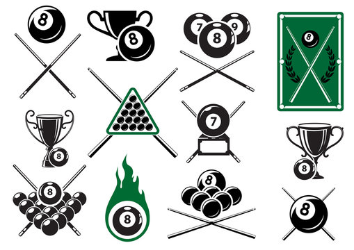 Billiard, pool and snooker sports emblems