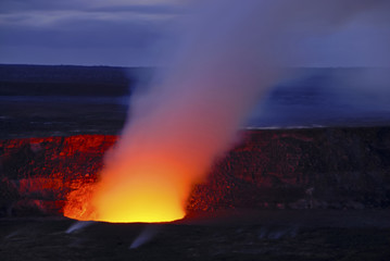 Pu'u O'o crater on Kilauea erupting, Volcanoes National Park, Ha