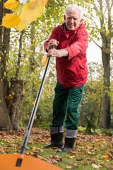 Pensioner working in garden