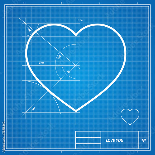 Vector holiday card heart on blueprint paper stock image and heart on blueprint paper malvernweather Images