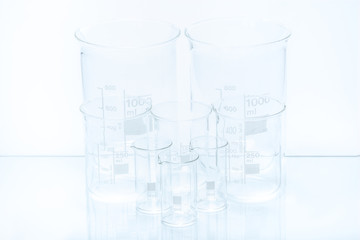 Set of conical laboratory glassware of different capacity