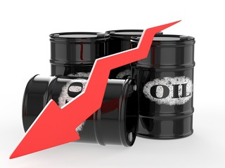 Oil Barrels with Red Arrow down. Financial crisis
