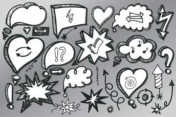 Speech Bubbles,arrow set. Doodle sketchy