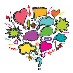 Speech Bubbles,arrow composition.Doodle colored vector