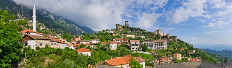 Scene with Kruja castle near Tirana, Albania