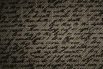 Blur text on brown fabric burlap