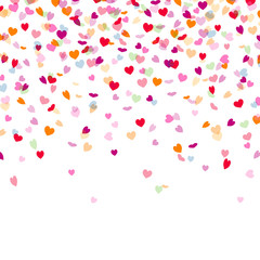 Vector Illustration of a Colorful Background with Heart Confetti
