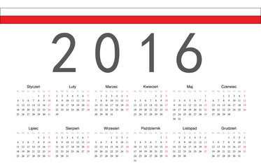 Polish 2016 year vector calendar